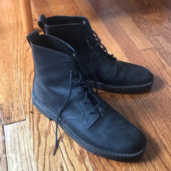 Clarks Black Leather Desert Mali Boot